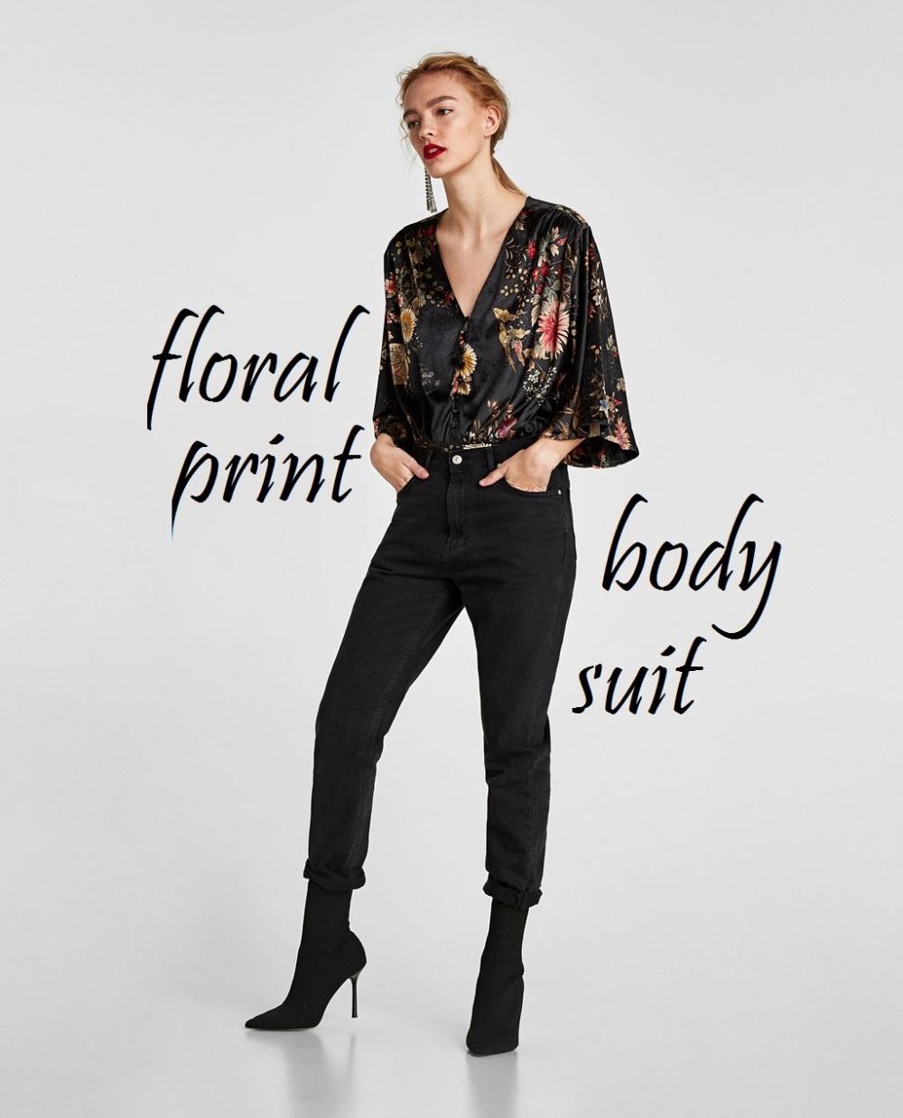 floral velvet body suit