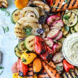 Grilled Veggies with Avacado whipped Feta by howsweeteats.com